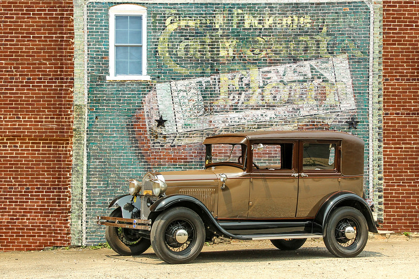 1928 Model A Ford Leatherback Sedan andWrigley's Spearmint Gum/Ceresota Flour sign, West Chester, PA.