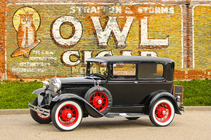 1931 Ford Model A Tudor Deluxe and Owl Cigar sign, New Kensington, PA.